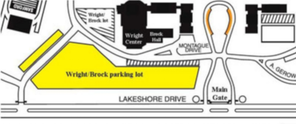 Parking is available adjacent to the Wright Center, with a drop-off circle near the front steps.