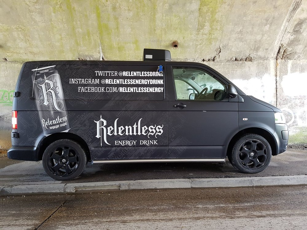 Relentless wrap, with subtle white print onto matt dark grey