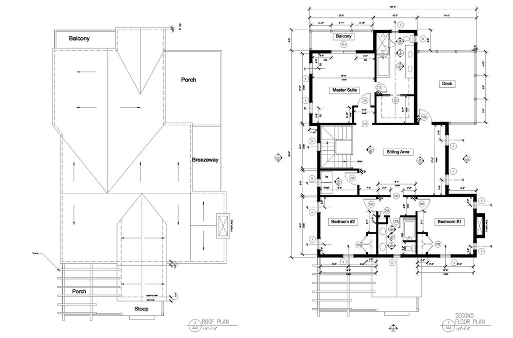 proposed 2nd floor & roof plans