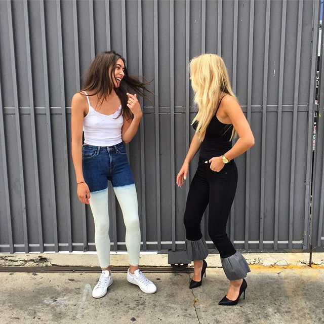 On Monday we laugh, because why not! 😍 testing out predevelopment denim designs with the ladies 💕#geneticjean #madeinlosangeles
