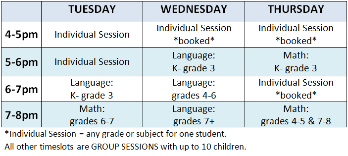 GROUP SESSIONS are subjected to minimum enrollment numbers.  If minimum not met, those registered will be contacted before the start date with available options. TO REGISTER: Submit a tutoring info request below or call 519-623-5437
