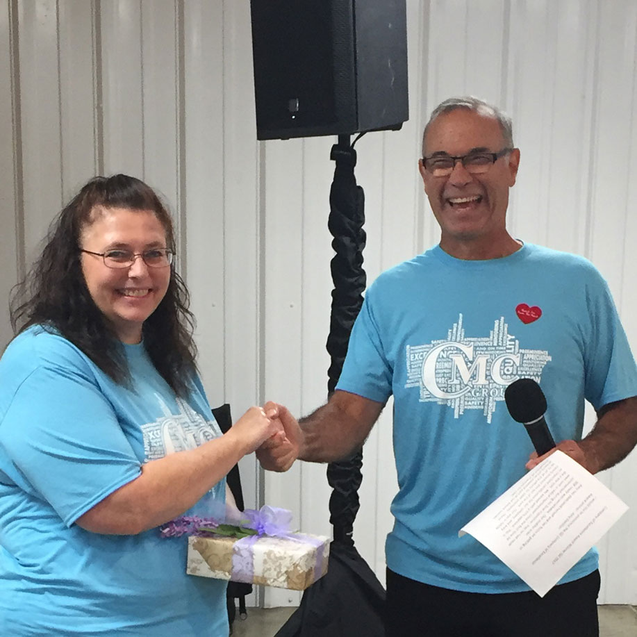 Amy DeTillion, Product Safety and Quality Administrator, received the CMC Group Company of Excellence Award for Q2 from Al Caperna during the Care and Compassion Day festivities on September 12. Congratulations Amy!