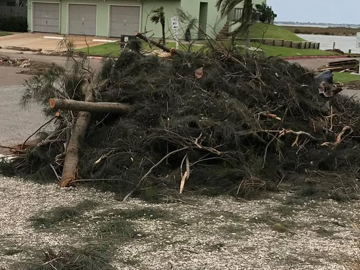 Yard Clean Up - We are still amazed and sharing with everyone our experience post-Harvey.  Your kindness and that of the clean-up crew just blew me away when I arrived home from work that day.Tears of joy flowed as I had not looked forward to the daunting task of cleaning everything myself. I am the primary caregiver and working full time so the debris was not a welcome sight when Harvey finally moved on. The owner is suffering from Parkinson's and the dementia that goes with it. The adjuster came yesterday morning. According to him what I thought of as fairly minor roof damage will actually be a full roof replacement. Once again, a heartfelt THANK YOU and a THANK GOD for such wonderful island neighbors.