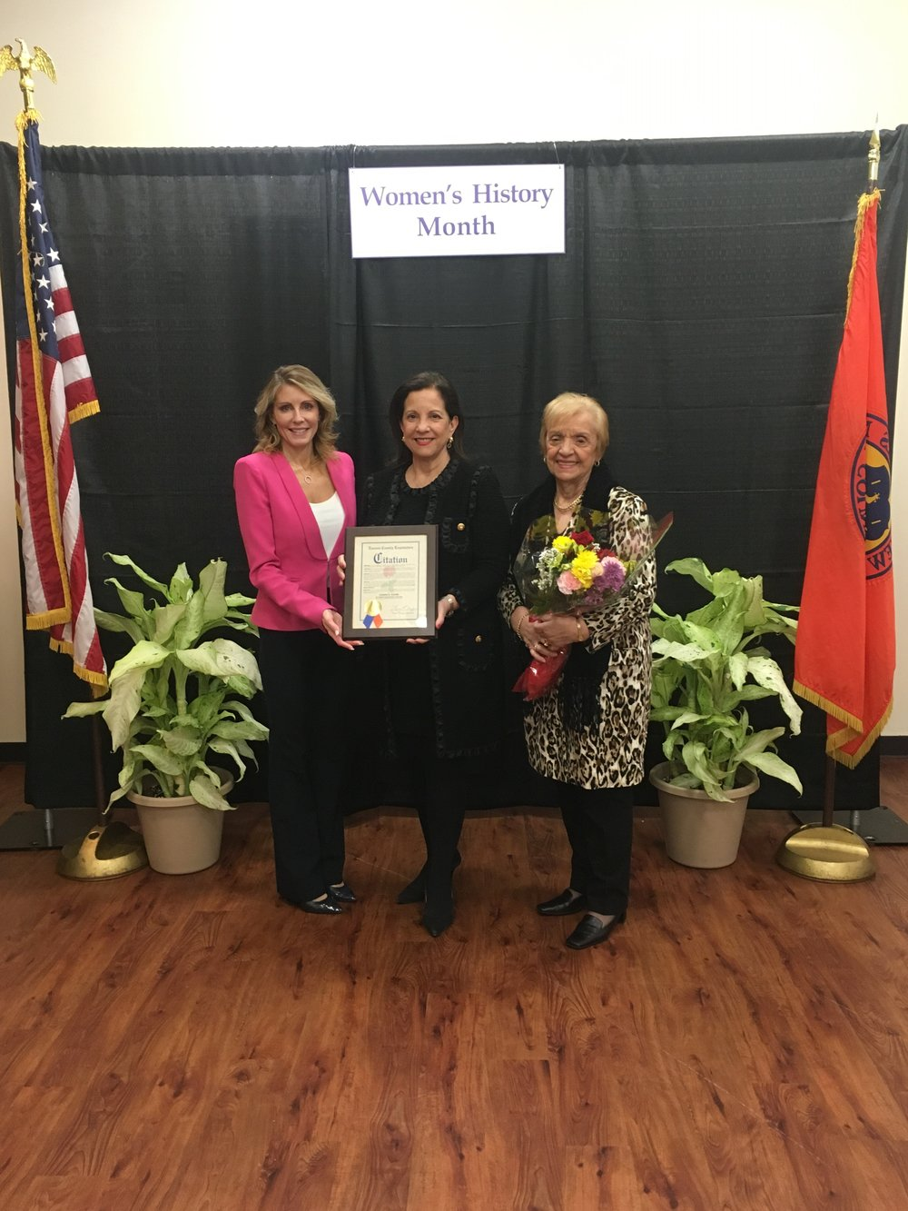 Nassau County Legislator Laura Schaefer, Joanne K. Adams, Antonia Kourepinos (Joanne's mother)
