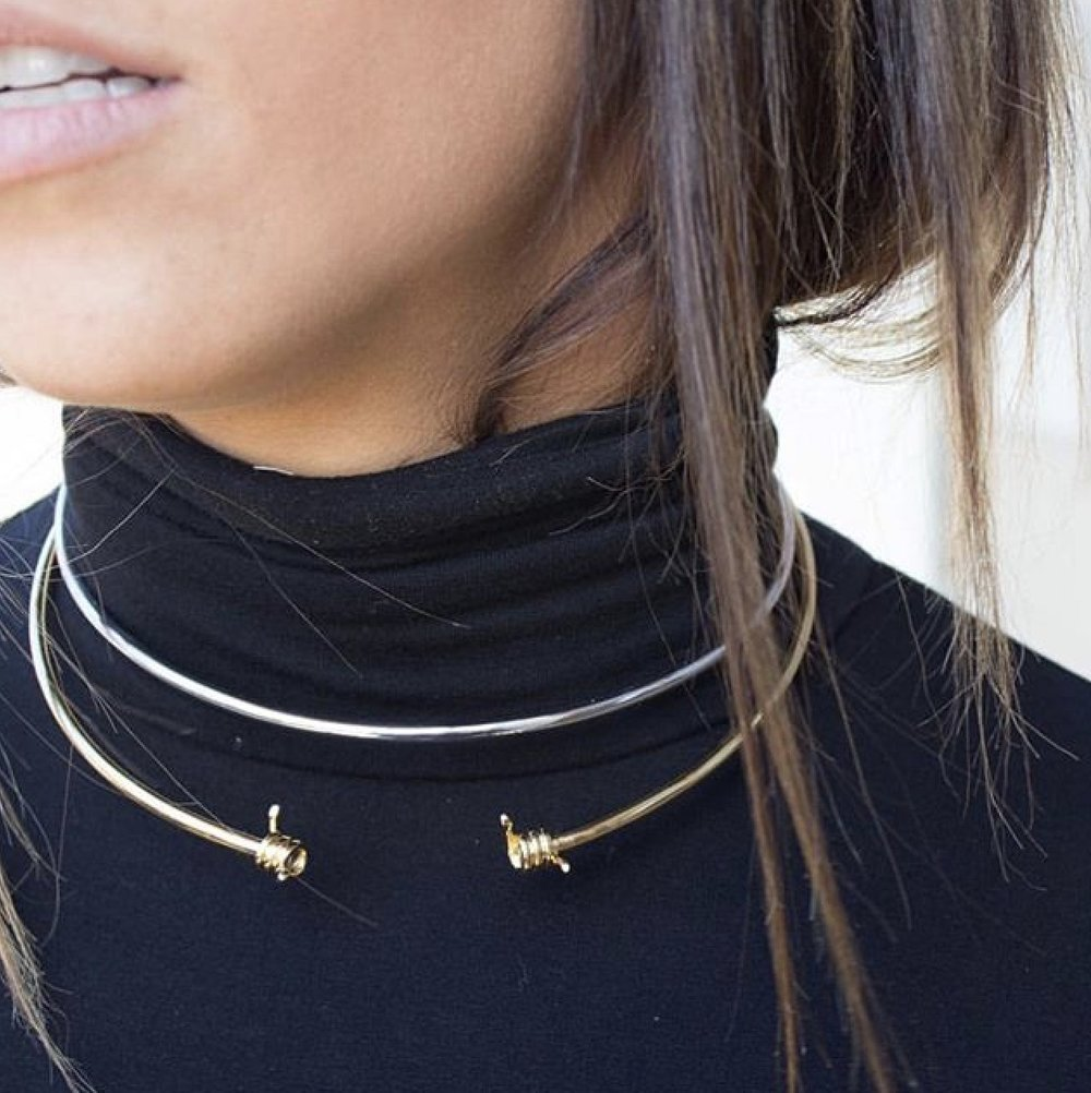Sometimes just adding a simple accessory or two can elevate an ordinary outfit from drab to fab! These choker necklaces are designed by Stella & Valle, just click to shop the look.