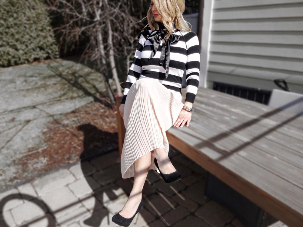 striped top ,  pink pleated   skirt ,  heels ,  silk scarf