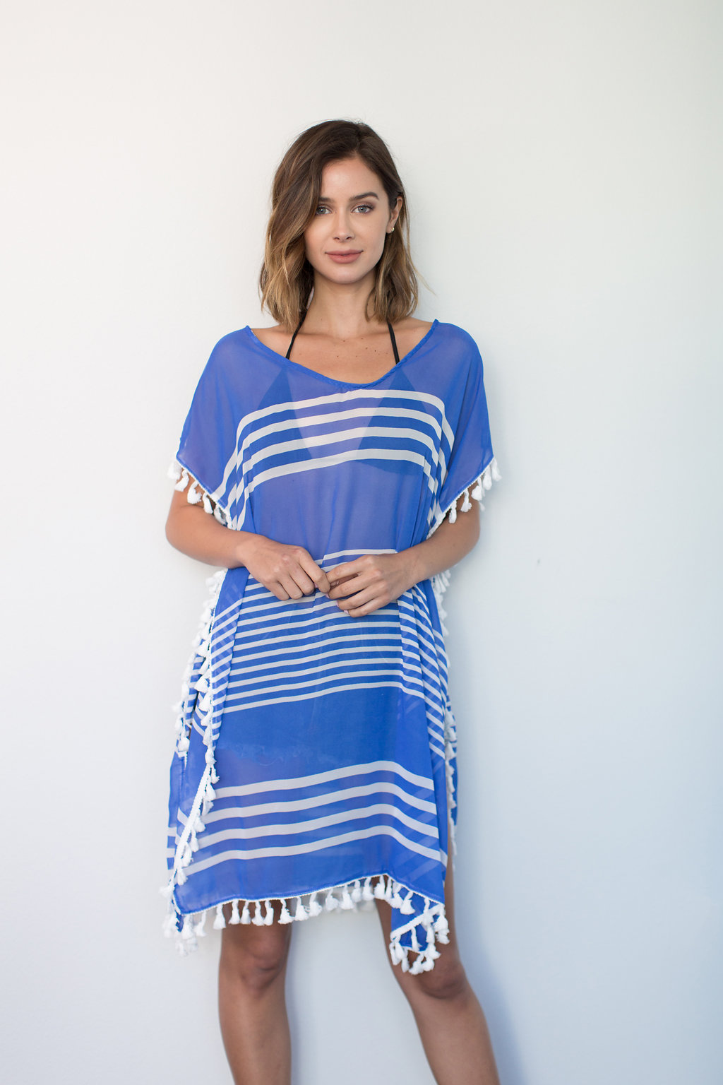 Stripe And Tassel Poncho Cover Up Pretty Bash Robes Lingeries Swimwear And Gifts