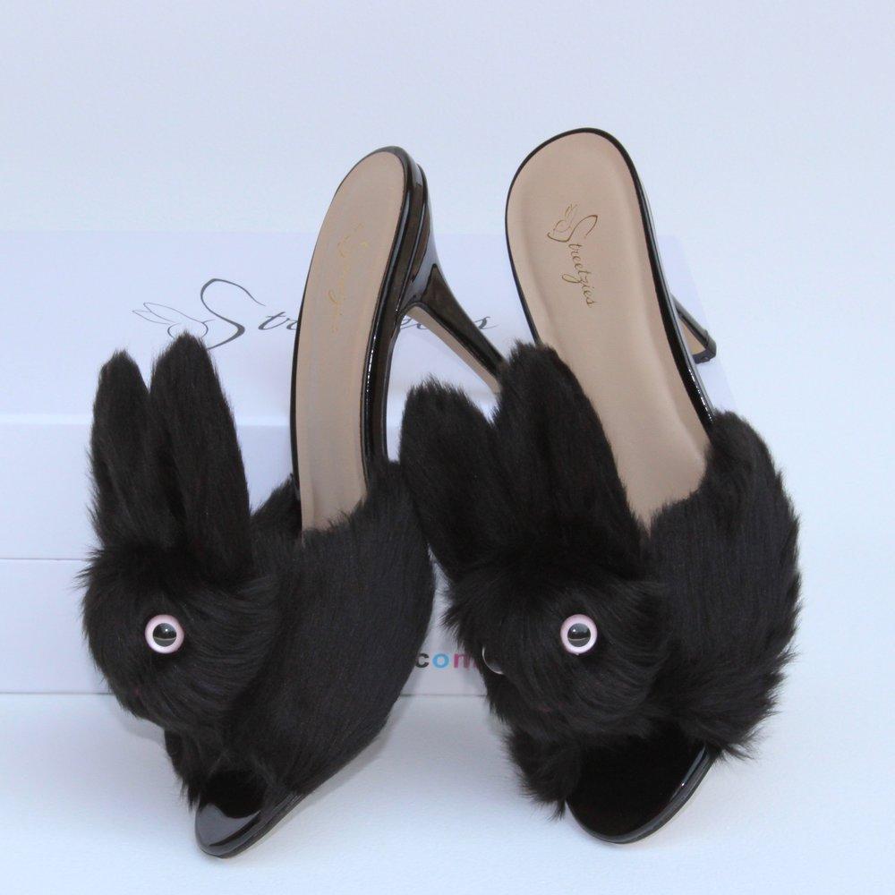 93aa91bff2c4 High Heel Bunny Slippers - Black — Streetzies