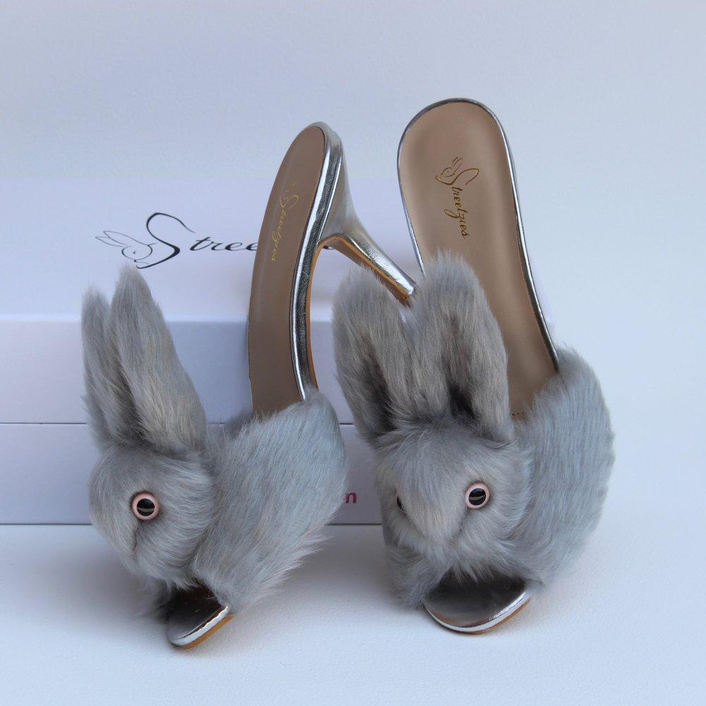 47ceb6790b80 High Heel Bunny Slippers - Silver — Streetzies