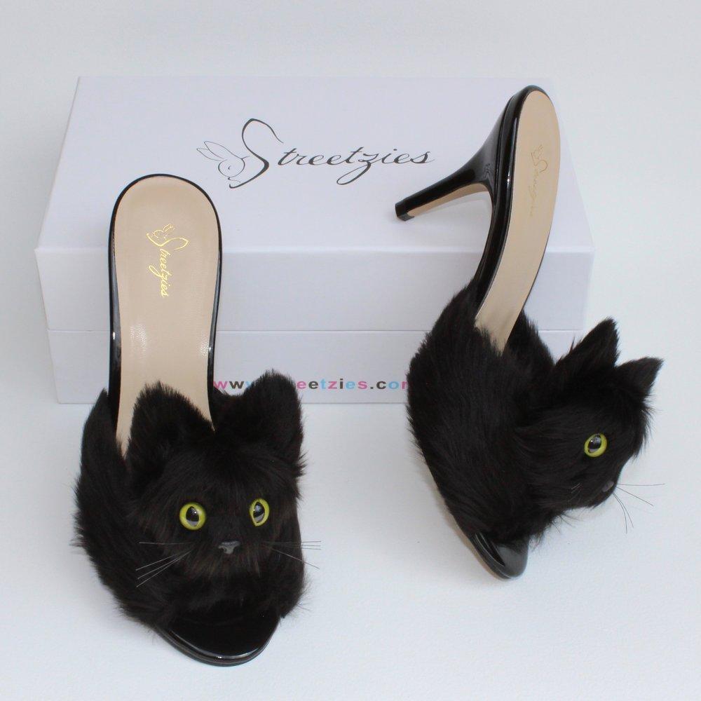 2ce540d1241b High Heel Kitty Slippers - Black — Streetzies