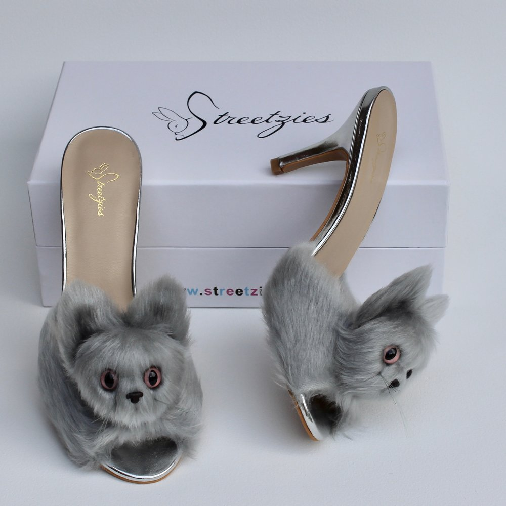 0f4d91f014c7 High Heel Kitty Slippers - Silver — Streetzies