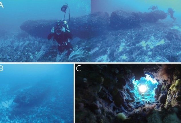 A monolith discovered off the coast of Sicily. It has been dated to circa 8,000 BC which places those who constructed it far before the Indo-European speaking peoples who arrived from the Caucuses and Anatolia during the Copper Age and later early Bronze Age.