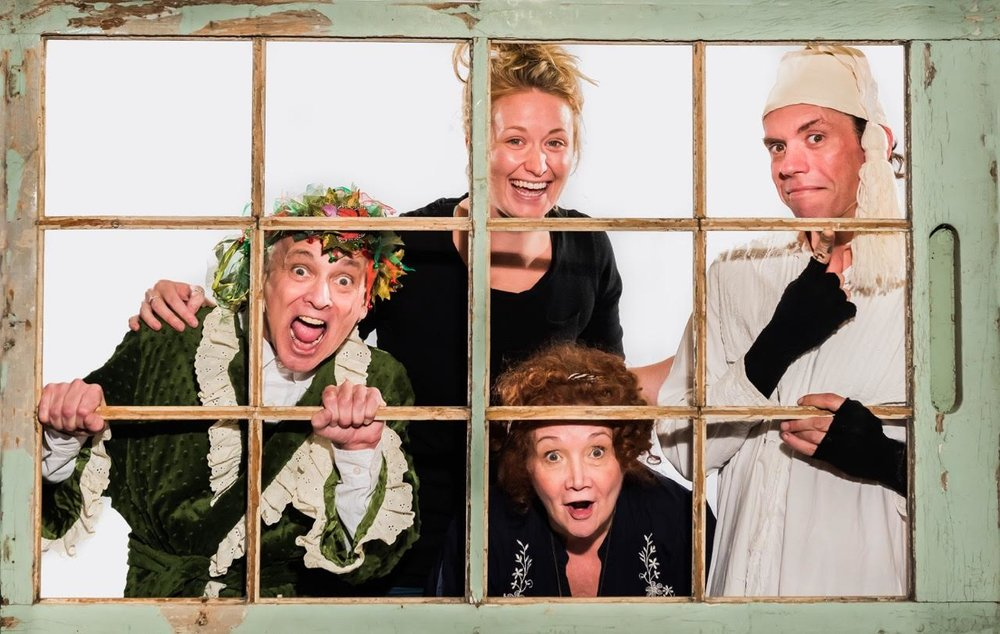 Peeping Tom-foolery at our photo shoot with John Gundy.  Left to Right:  Sean Sullivan  (seen here as Ghost of Christmas Present),  Katie Leamen  (playwright),  Lynne Griffin  (director),  Jesse Buck  (Scrooge). Not pictured:  Rose Hopkins  (associate producer),  Jake Gow  (set designer).