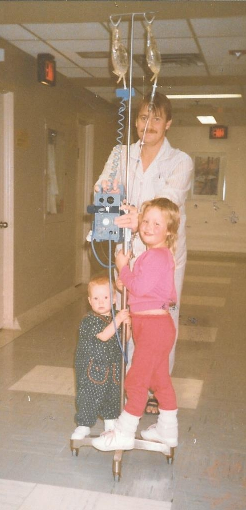 Dad, my big sister Lindsey and I riding the halls of Toronto General after one of Dad's pre-dialysis prep surgeries (1988).