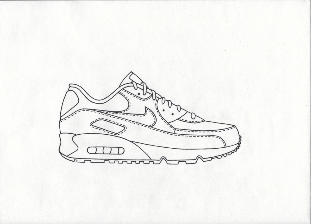 ... drawing nike air max 90 ...