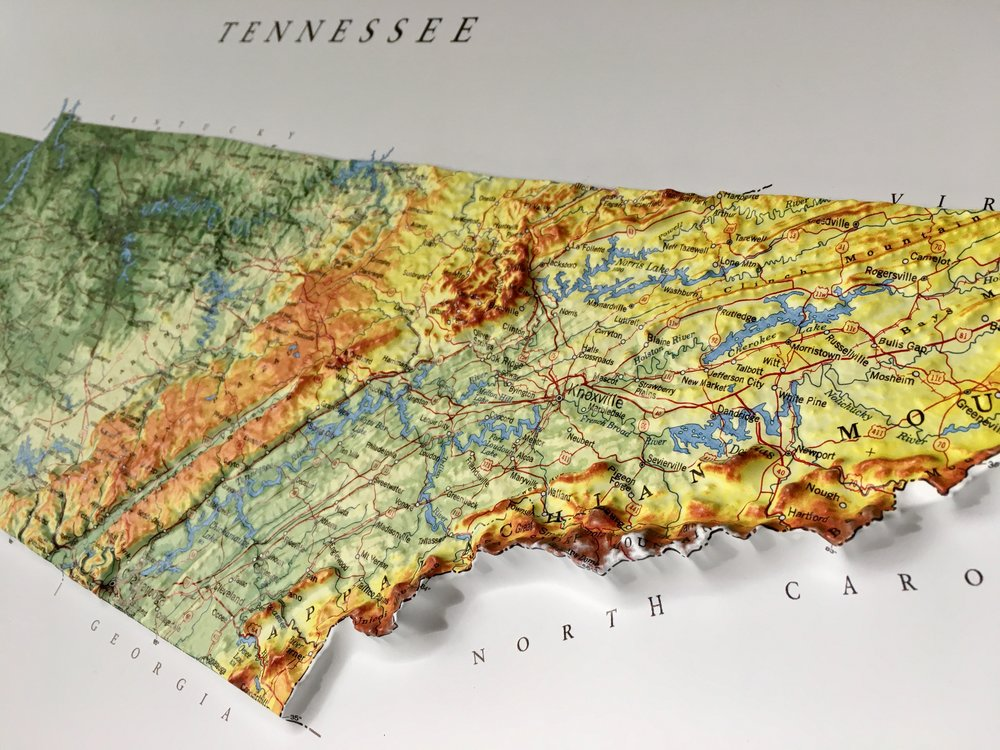 Tennessee State Relief Map  Lee Springs Farm