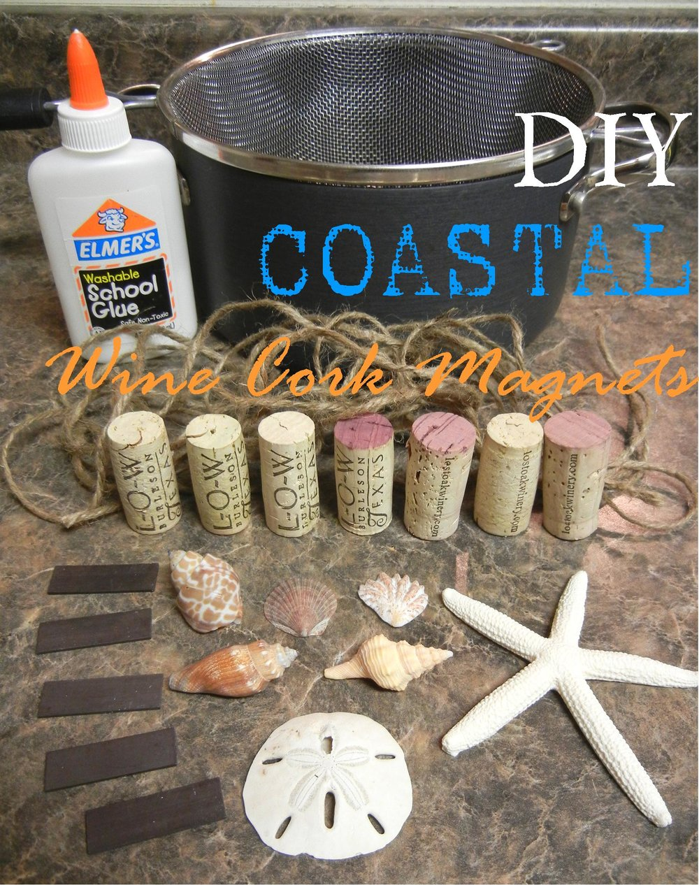 Coastal wine cork magnets