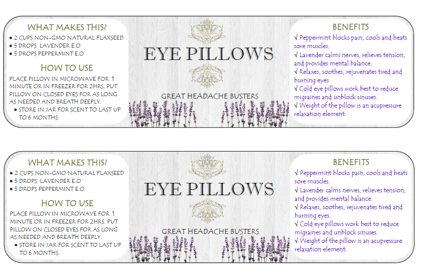 Eye Pillow Label Printable