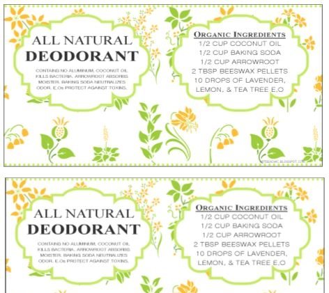 Large Deodorant Label Printable