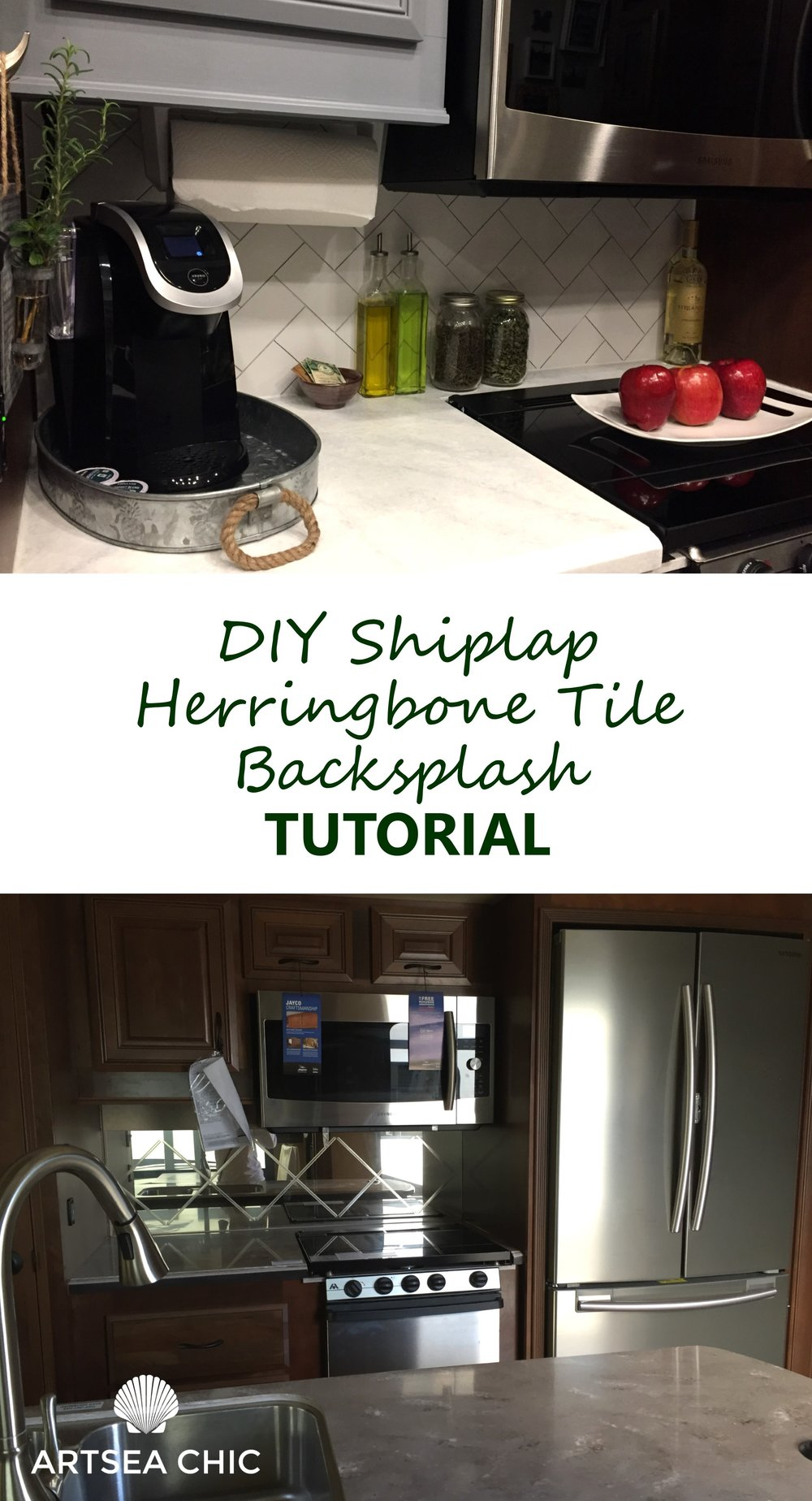 DIY Shiplap Herringbone Tile Backsplash Tutorial