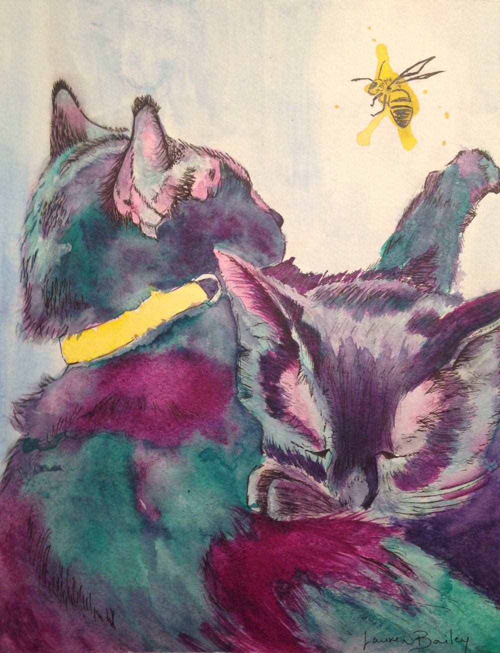 Two Cats and a Bee