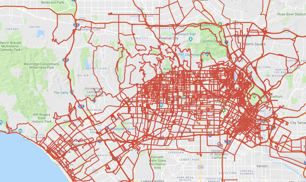 This map displays all the routes and places I have driven during my first three years of living in Los Angeles. Click the map to interact