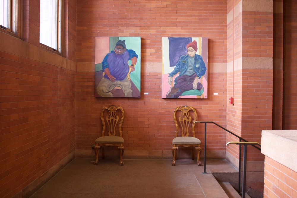 Portraits of Stoney and Peyton in Palmer Hall