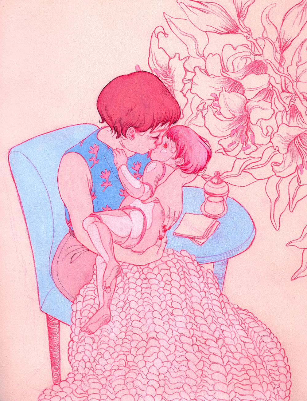 A Mother's Kiss (after Mary Cassatt)