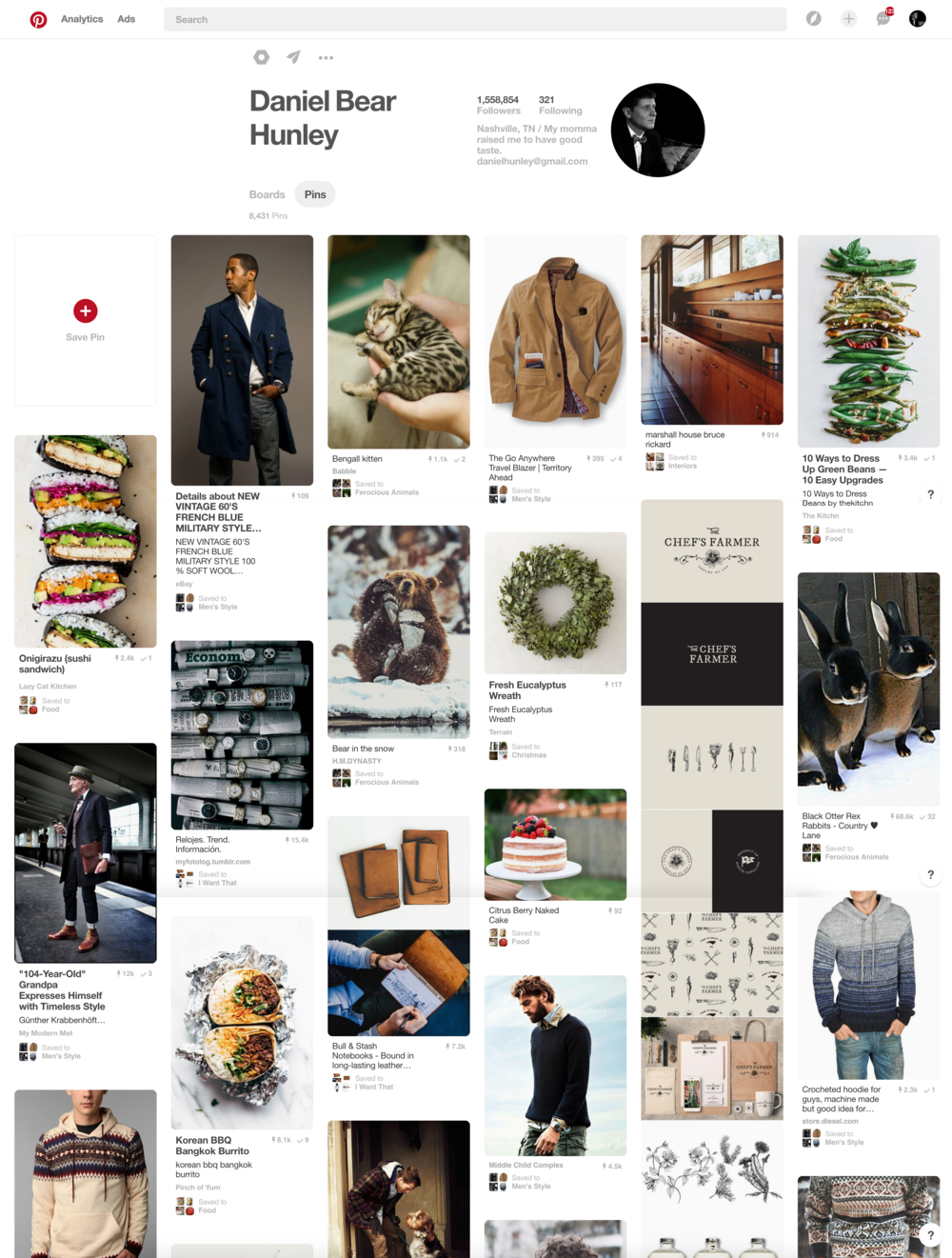 Daniel Bear Hunley is a Pinterest Influencer, with a following of 1.5 million. He's curated over 8k images that reflect a clear, consistent aesthetic that's appealing to both followers and brands interested in influencer marketing.   Daniel Bear Hunley's Pinterest