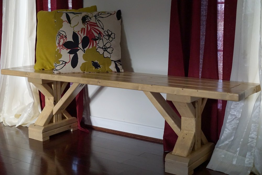 X Leg Farmhouse Bench Charity Builds