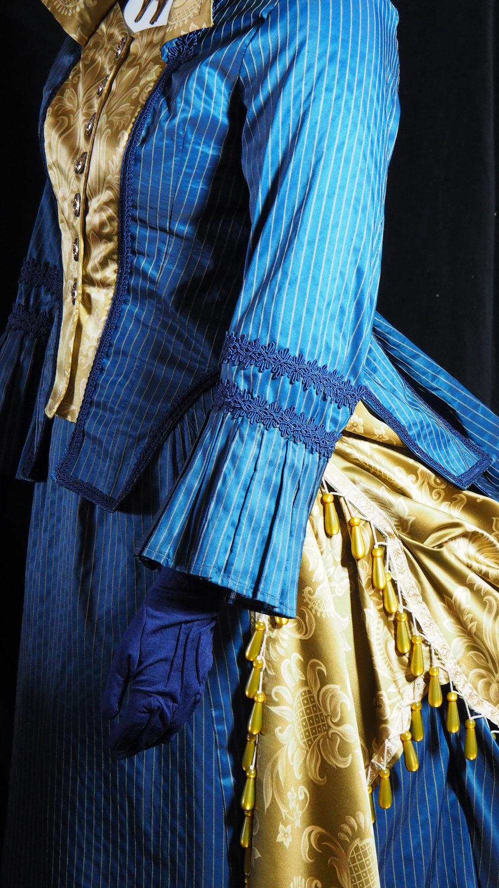 Blue Pinstripe Bustle