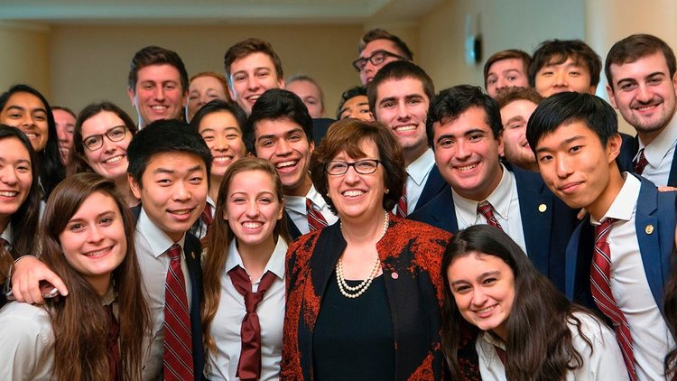 Members of the Glee Club and Chorus welcome President-elect Martha Pollack on the day of her announcement as Cornell's 14th president