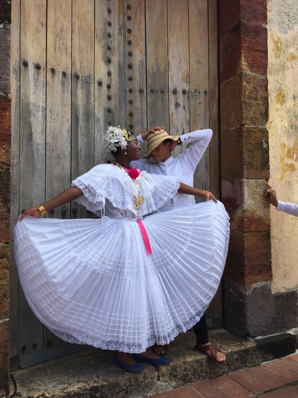Panamanian pollera and montuno in Casco Antiguo, the old city