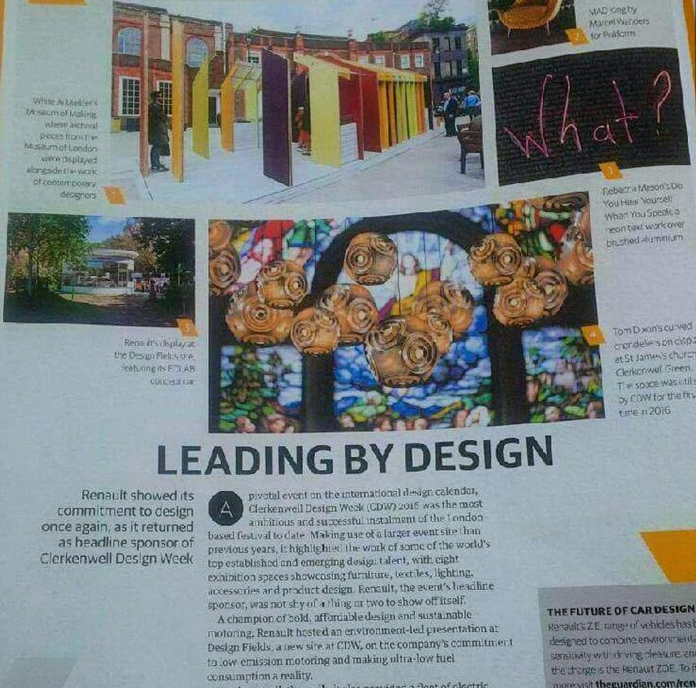 The Guardian, saturday magazine feature on Clerkenwell Design Week.