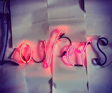 "2014: UNFINISHED. Neon word ""LOVERS"" which flashes to ""OVER"" released in 2014 but still pending a background. I will finish the background soon (ish)."