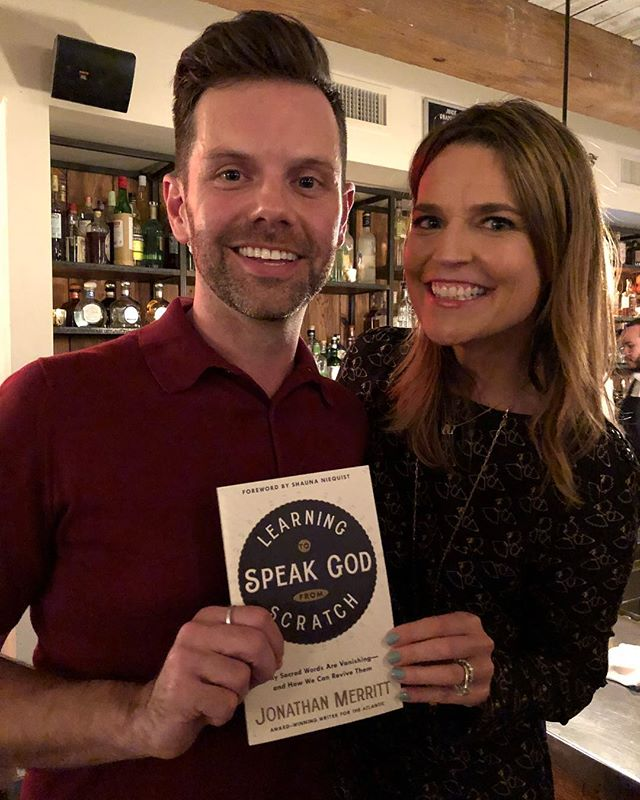 So proud of @jonathan_merritt on the release of #SpeakGodBook and such an amazing launch event tonight with @savannahguthrie!
