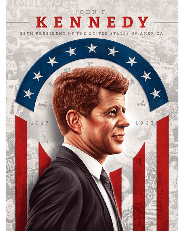 John F. Kennedy 🇺🇸 A true embodiment of the American spirit... Kennedy served in WWII as a PT-boat commander in the Japanese theater, in which leadership became evident. Later that leadership would become crucial in being elected the 35th president of the United States. Although his presidency was tragically short-lived John F. Kennedy would get the world through one of the most chaotic times in human history (Cuban Missile Crisis). #johnfkennedy #illustration #digitalpainting #digitalillustration #digitalportrait #portrait #america