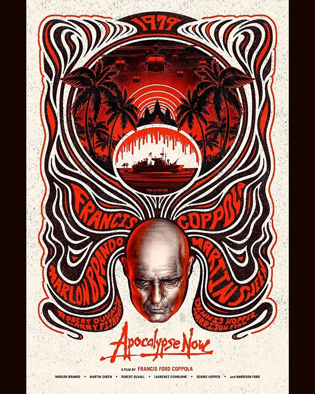 """Here's my original take on Francis Ford Coppola's 1979 film """"Apocalypse Now"""". Including all original hand-crafted text, decorative elements, and illustrations. Enjoy 🔥 #apocalypsenow #francisfordcoppola #illustration #graphicdesign #psychedelic #digitalpainting #posterdesign #retro #digitalillustration"""