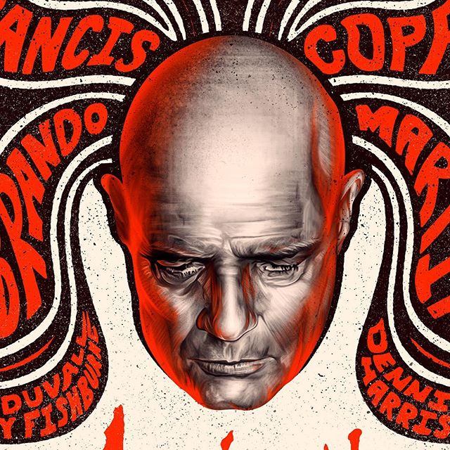 """Detail crops from my new """"Apocalypse Now"""" poster... I combined an array of techniques for this one including hand-lettering, pen/ink compositional elements, digital illustration, and most of all authentic texture grit to give a true retro vibe. ⚫️ #apocalypsenow #francisfordcoppola #illustration #graphicdesign #psychedelic #digitalpainting #posterdesign #retro #digitalillustration"""