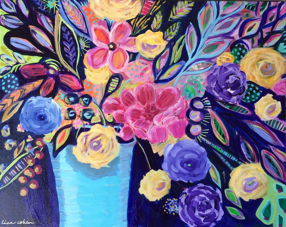 "144 Night Blooms - 16"" x 20"" original expressive  acrylic painting on canvas - Lisa Cohen.jpg"
