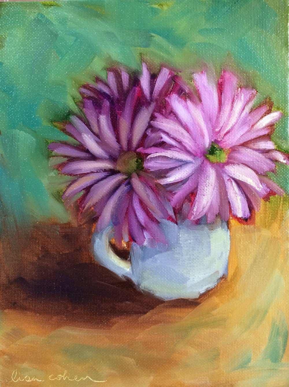 119 Teacup Flowers - Expressive Oil Painting - Lisa Cohen.jpg