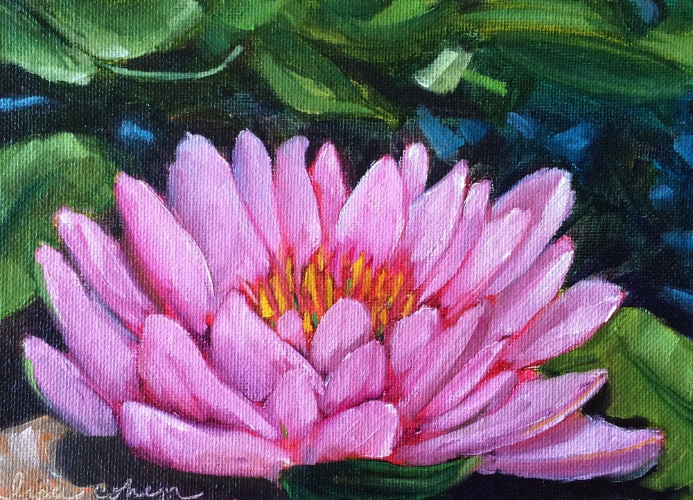 106 Unfurl - 5x7 oil painting lotus blossom flower - Daily Painting - Lisa Cohen.jpg