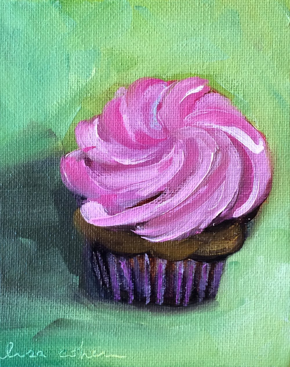 84 Chocolate Raspberry Cupcake Original Painting - Lisa Cohen.jpg