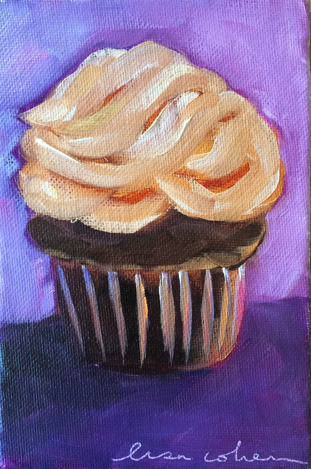 85 Just Peachy Cupcake Original Painting - Lisa Cohen.jpg