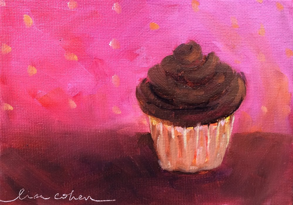 90 Chocolate Iced in the Pink - Expressive Oil Cupcake - Daily Painting Lisa Cohen.jpg