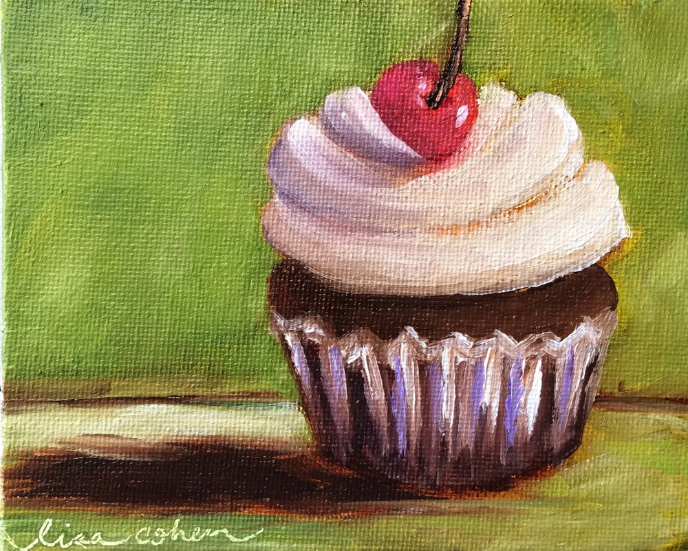 91 Green Room Ready - Expressive Oil Cupcake - Daily Painting Lisa Cohen.jpg