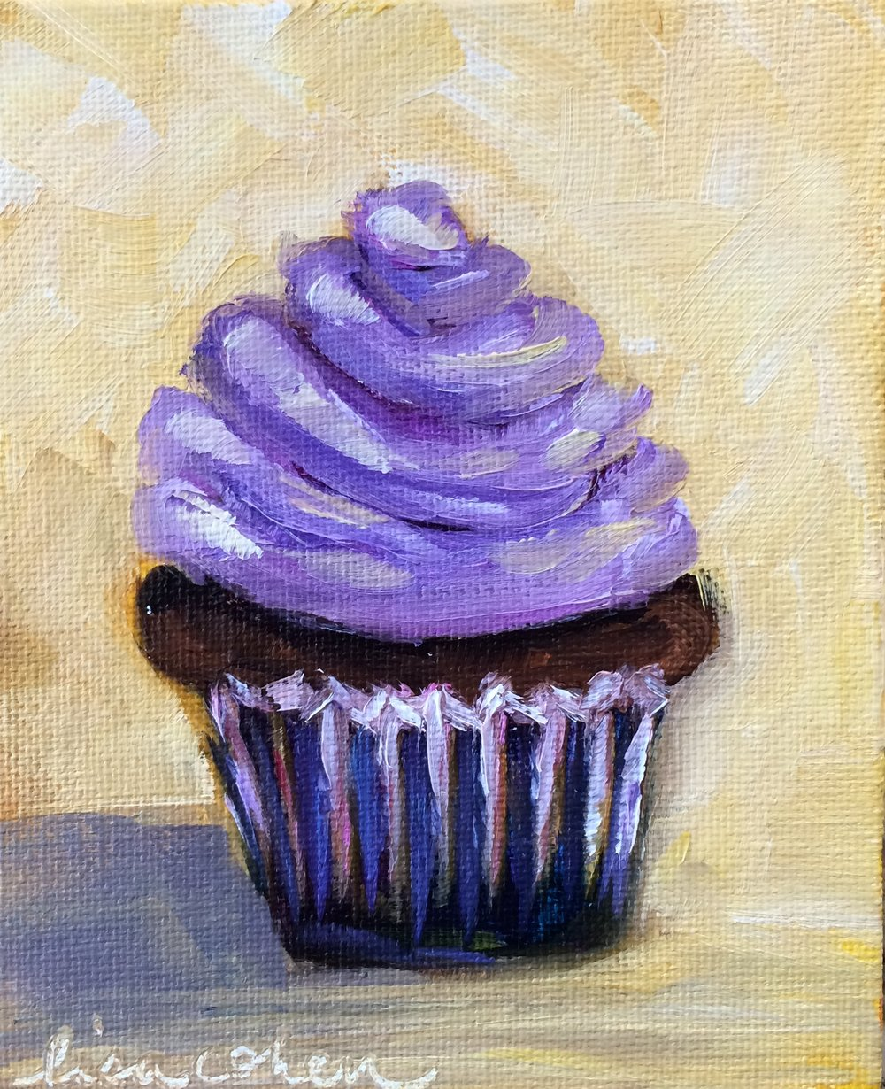 101 Iced Lavender - 4x5 oil on canvas panel - Expressive Cupcake - Lisa Cohen Daily Painting.jpg