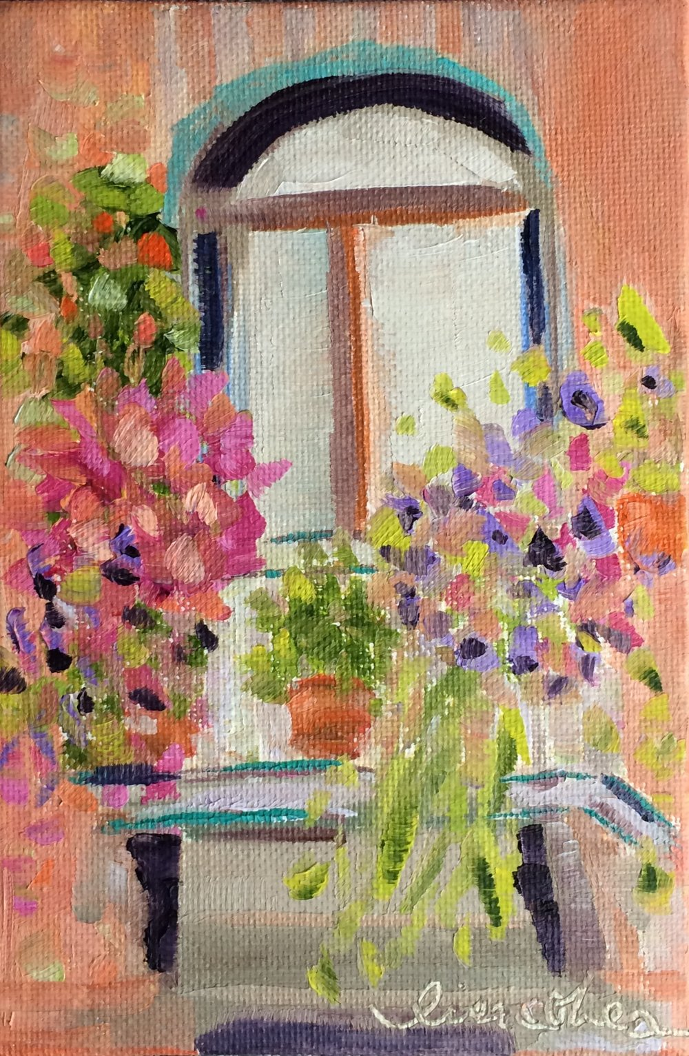 67 Balcony Blooms - Original Floral Abstract Expressionist Painting - Lisa Cohen.jpg