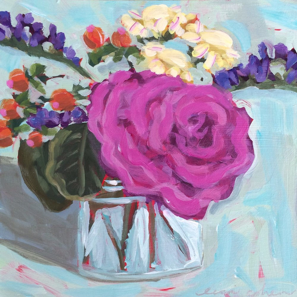 164 What Really Matters- Abstract Expressive Floral Original Painting - Lisa Cohen