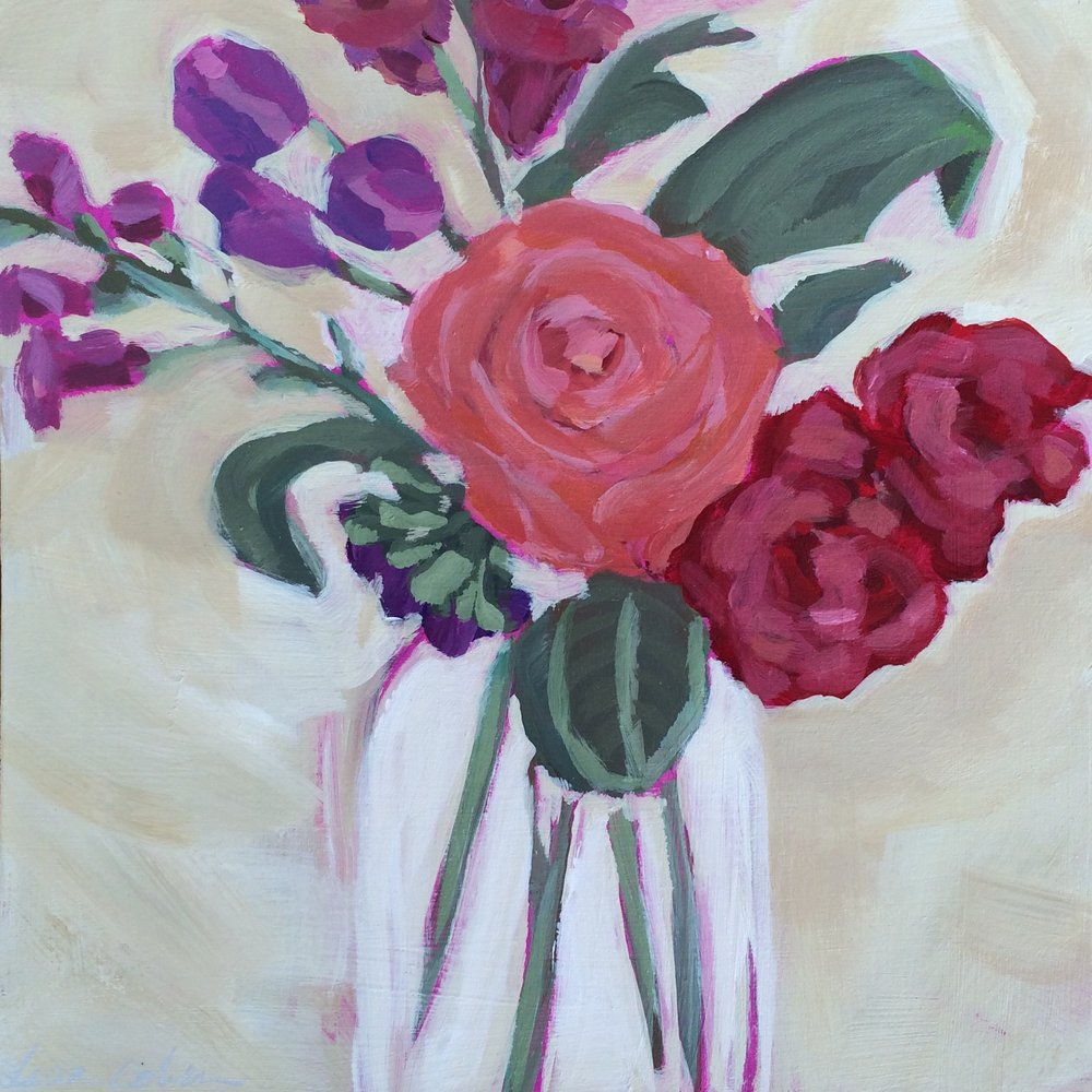 167 True North - Abstract Expressive Floral Original Painting - Lisa Cohen